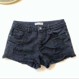 Zara Girls Distressed Black Denim Shorts